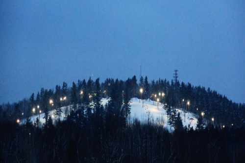 March 3, 2012 - It's great to see snow in the trees.  This was shot last night at dusk as the lights turned on for 100% night skiing.