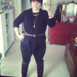I wear all black because I am mourning my soul. Cramps like a mofo today. Jazzed it up with a shit ton of jewelry.  P.S. I'm proud of my thunder thighs.