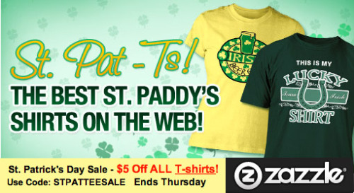St. Pat Tees Day Sale @Zazzle today. Use Code: STPATTEESALE Ends Thursday. http://www.zazzle.com/detourdesignables #sale #StPatty #coupon