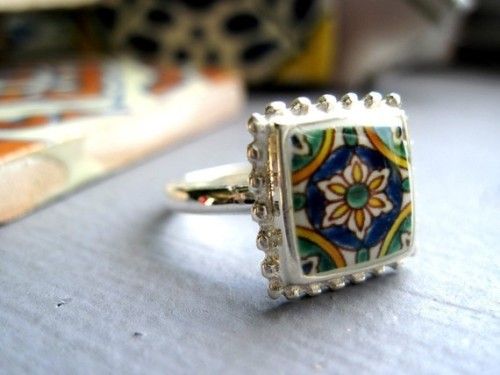 My Bohemian Style  Mediterranean ceramic tile design ring. $55 from ShrunkenCatHeads on Etsy.