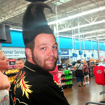 ScoDal with crazy tall hair at Walmart