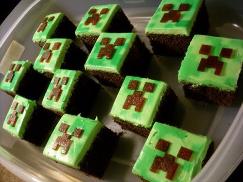 Minecraft creeper cupcakes. Delicious, but they have the nasty habit of exploding in your stomach.