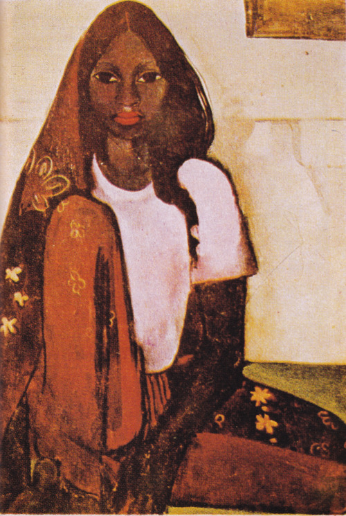 Amrita Sher-Gil (1913-41), The Child Bride, 1936  Amrita Sher-Gil was born in Budapest in 1913 to a Sikh nobleman and a cultivated Hungarian-Jewish musician. Her primitivist longings were first kindled by Gauguin's Tahitian paintings. Apart from her well-known Gauguinesque paintings, she also produced a thick 'textural' style related to the Neue Sachlichkeit movement, which had influenced Hungarian artists. Paradoxically, it was not her painting style, but her vital personality that marked her out as the quintessential modern artist as an alienated outsider. With her mixed parentage, she embodied the contradictions and ambiguities inherent in the modern concepts of ethnicity, nationalism, and cultural 'purity'. Unconventional and brash yet vulnerable, she shared with many gifted people a voracious sexual appetite that outraged her contemporaries. She had a series of bisexual affairs and her feelings for men were ambivalent. One of her lovers, the English journalist Malcolm Muggeridge, described her as a 'mixture of rose water and methylated spirit'.   Image and text from Indian Art by Partha Mitter