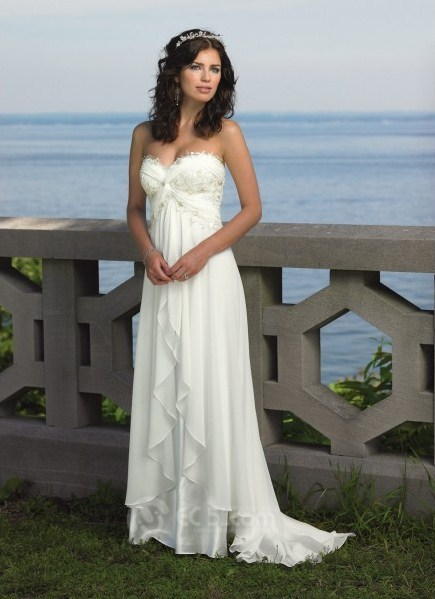 Strapless chiffon over charmeuse dress with lace trimmed sweetheart neckline, beaded lace bust line with twist detail and Empire waistline, double layered skirt with ruffled front hem and sweep train. Free made-to-measurement service for any size. Available colors seen as in Color Options.
