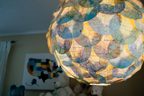 Map Lamp {How to} Found at: paisleysprouts