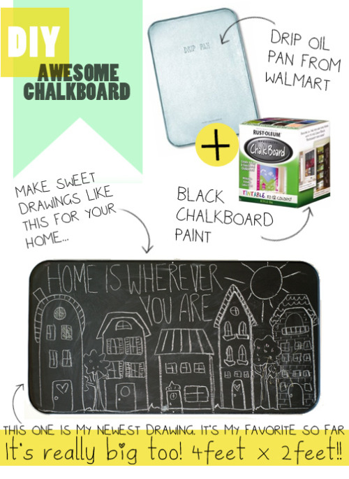 DIY chalk board.  What a cute DIY idea from Jen Loves Kev.  See more here.