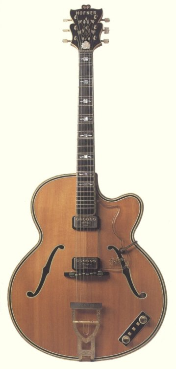 "Golden Hofner 1959-1962Maple, Spruce, Ebony Hofner's holy grail. Rather fatty, its 18"" body size is the largest body ever made by Hofner. Mother-of-pearl roses inlays florish through a zero-fret 11 piece laminated neck. Came in three versions (acoustic, electric and thinline). Sold exclusively in the UK by Selmer, about 100 goldens ended in british homes. The rest of the world had to accomodate with the Hofner 470 model, very similar but smaller in size and with different inlays. If you're curious, here is a ton of pictures and more details."