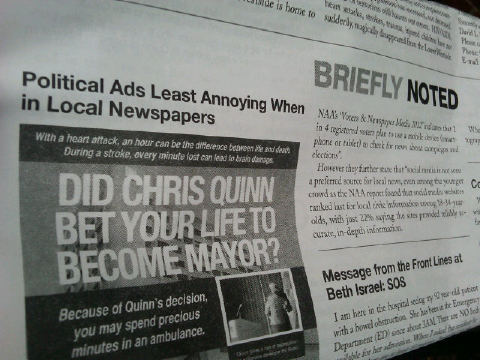 "I picked up West View News — a free paper in Chelsea — and spotted this headline. As a politics junkie, ""politics ads"" are almost never annoying to me. And, there's a great argument to be made that political ads have a great impact when in local papers.  The readership of local papers are usually more engaged and motivated to participate in local elections. So, any article or advertising in them could, potentially, move more votes compared to earned and paid media from other outlets.   Also, advertising in local papers (rather than online, for example) is a great way to by-pass the political press corp who could vet, debunk and otherwise put into context claims made in the ad. Campaigns talking directly to voters without having to go through the ""filter"" of the media nearly always has an impact. And who is more likely to vote than someone who spends their day reading local papers?"
