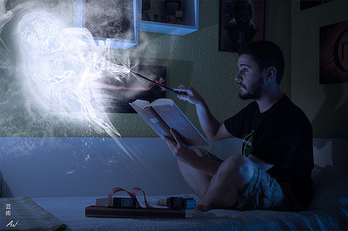 I feel like this would be my life if I were a wizard.  Doing homework, testing out spells. You know, wizard stuff.