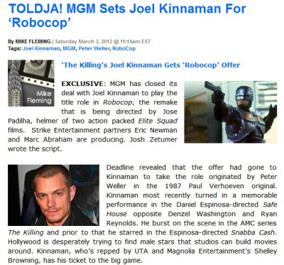MGM Sets Joel Kinnaman For 'Robocop'——————It better be a good scrip. :)