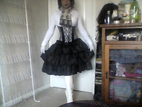 I picked up the corset for Rarity today, I thought it was more solid white/silver but I think I'm kinda digging the black accents—That way the corset won't get lost in all the white. Things left to do:-Make a white satin ruffle skirt [the black one I've been using is just for a general idea. It'll be just like that one except white] -Make a white satin ruffle cravat with diamond brooch [The scarf is just for general idea/show] -Sew lace onto cuffs of sleeves -Sculpt ears+horn My wig is already ordered so yeah pchoo hopefully I'll have the costume done before April