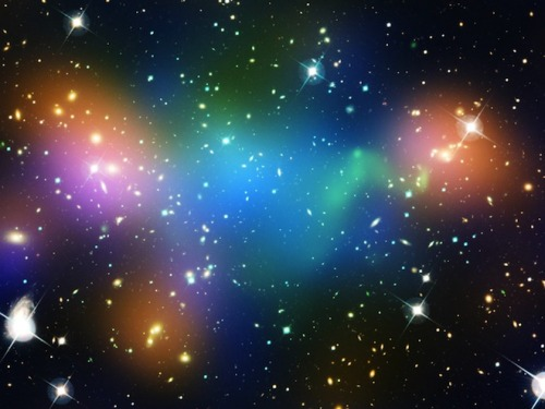 "ikenbot:  Galactic Pile-Up Leaves Behind Mysterious Dark Matter Core  Astronomers have found an enormous and strange clump of dark matter left behind following a violent collision of galaxy clusters.  The clump is located in the Abell 520 cluster, a diffuse collection of galaxies located 2.4 billion light-years away in the constellation Orion. The celestial object, sometimes called the Train Wreck cluster, is thought to be the remnant of a chaotic crash between several galaxy clusters.  Galaxy clusters are massive collections containing tens or even thousands of galaxies gravitationally bound together. They contain large amounts of dark matter — a strange form of matter that interacts through gravity but gives off no light — which is thought to provide an anchor attracting visible matter to a specific spot.  A 2007 study of Abell 520 showed that it was mostly typical: Wherever astronomers saw visible matter, they found a large clump of dark matter. But there was one gigantic and perplexing ""dark core"" that should have attracted large amounts of visible matter yet contained almost no galaxies.  Read full article.."