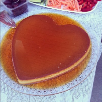 Filipino party = giant heart shaped flan 😊  (Taken with instagram)