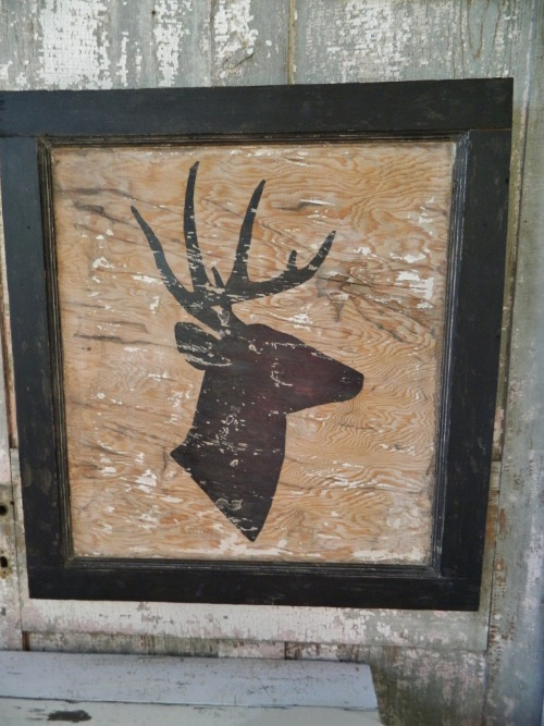 "Deer silohuette painted on an antique wood door panel. The door had 3 different colors of paint covering it. The original paint has been scraped down to the natural wood. Size: 30""w x 30""h Wholesale price: $30 Retail price: $62"