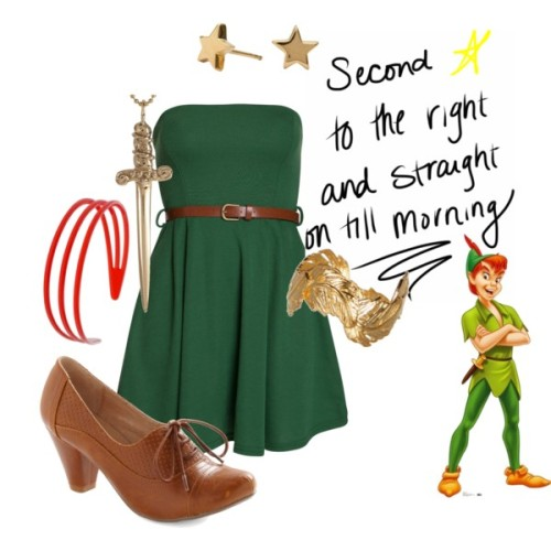Peter Pan Dress by forever-inspired featuring feather jewelry