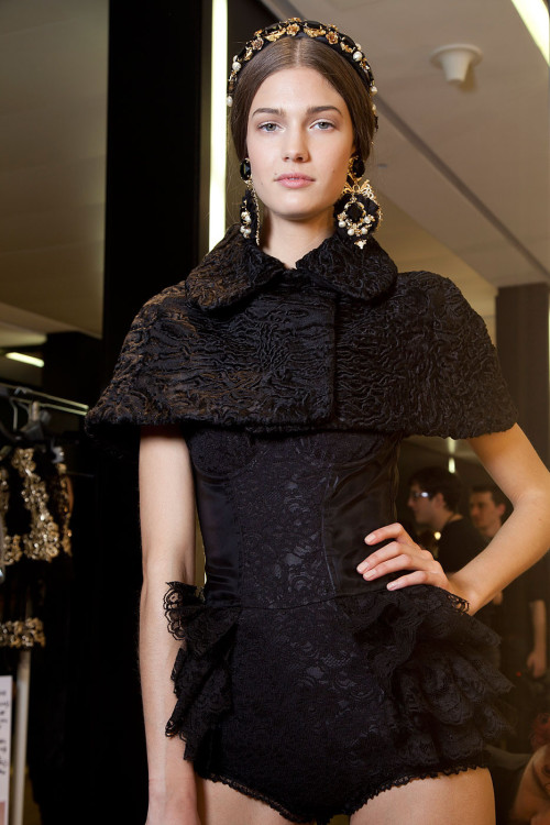 Kendra Spears backstage at Dolce & Gabbana Fall 2012 Milan.