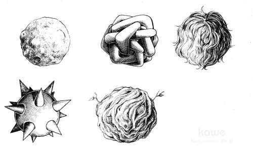Uni practice. Giving balls struktures with different shading methods. I didnt want to draw boring balls, so it ended in Mr. Fuzzball and his neighbours.