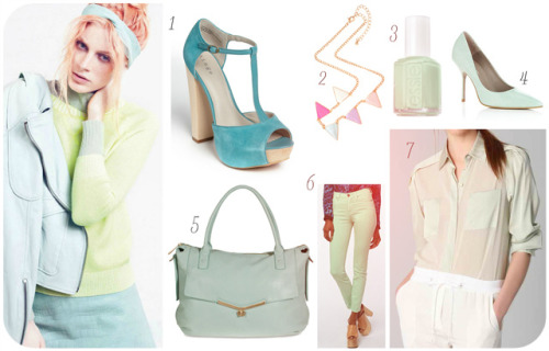 Minty Fresh 1. Hinge 'Asher' T-Strap Sandal Seabreeze 2. Botkier 'Valentina' Shoulder Bag Mint 3. Essie - Mint Candy Apple4. KG Elsie Pointed Court Shoes 5. ASOS Pastel Bunting Necklace 6. BDG Cigarette High-Rise Jean 7. 3.1 Phillip Lim Combo Sleeve Chiffon Shirt