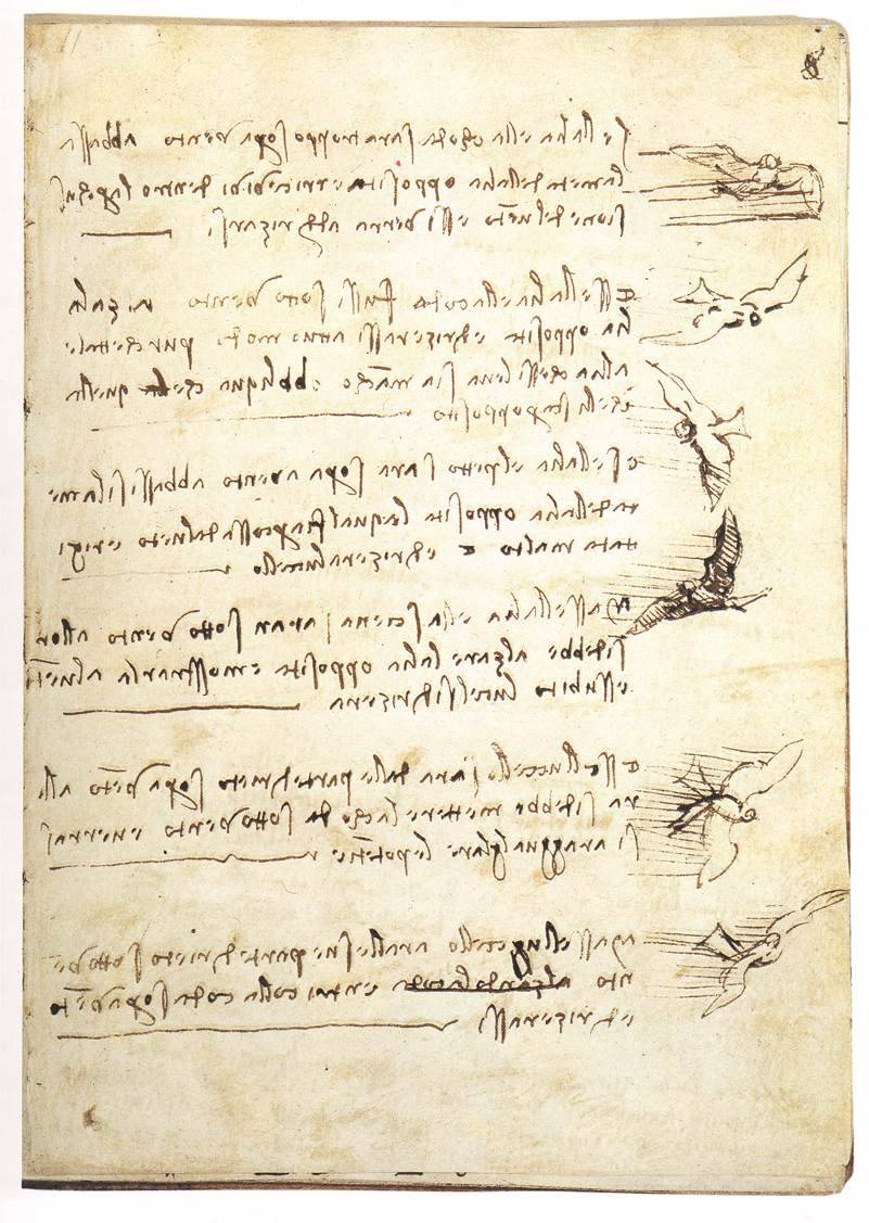 entregulistanybostan:  Leonardo da Vinci (c. 1452 - c. 1519), Codex on the flight of birds, n.d.  toomuchart  Leonardo da Vinci (c. 1452 - c. 1519), Codex on the flight of birds, n.d.