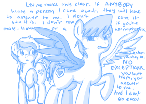 I don't know why I drew myself as a pony to deliver this message, but… I guess I just think I look more intimidating with my wings spread out like that? Something like that. But yeah. The message in there… take it seriously.  You hurt those I care about, I will make sure you regret it. Or at least, I will make sure that you never even THINK about hurting them again. Got it? Good.