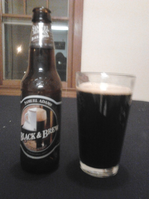 Samuel Adams Black & Brew Coffee Stout Wow, this is like drinking a caramel mocha latte, but without all the sugar, whipped cream and hipster baristas! Actually it's more like drinking beer. However, this stout has an outstanding coffee taste. This pairs wonderfully with the roasted flavor of the malt. There are also some chocolate and caramel notes (hence the previous poor use of a literary device) which are subtle, yet they play an essential role in this beer's flavor. The head dissipated almost immediately after I took the picture, but quite honestly I didn't miss it. When I get my occasional late night coffee cravings, I think I'll grab one of these instead! Definite re-buy