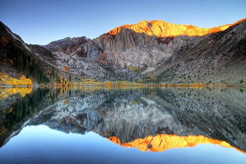 Alpen Glow On Mt. Morrison At Convict Lake, California