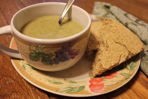Broccoli and Potato Soup with maple bread. Okay, the recipe was for cornbread but being from the South I just can't call it that. It was good, don't get me wrong, but it definitely was not cornbread. :) The soup was easy to make thanks to my brand new immersion blender. *swoon*