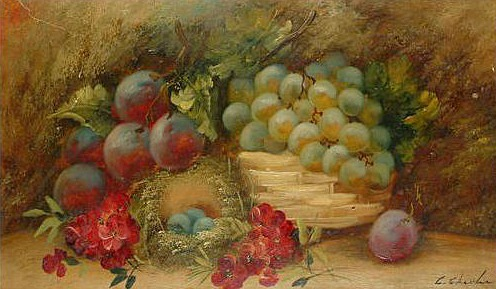 G. Chester Still Life with Fruit and Bird's Nest 19th century