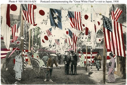 """ Street Scene, Yokohama, Japan, 1908 "" …. Postcard commemorating the visit to Japan, of the ""Great White Fleet"" in October, 1908."