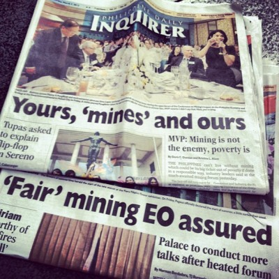 Mining (in) the headlines this week. Hot issue, intense discussions on & off the mainstream. #mobit #philippines  (Taken with instagram)
