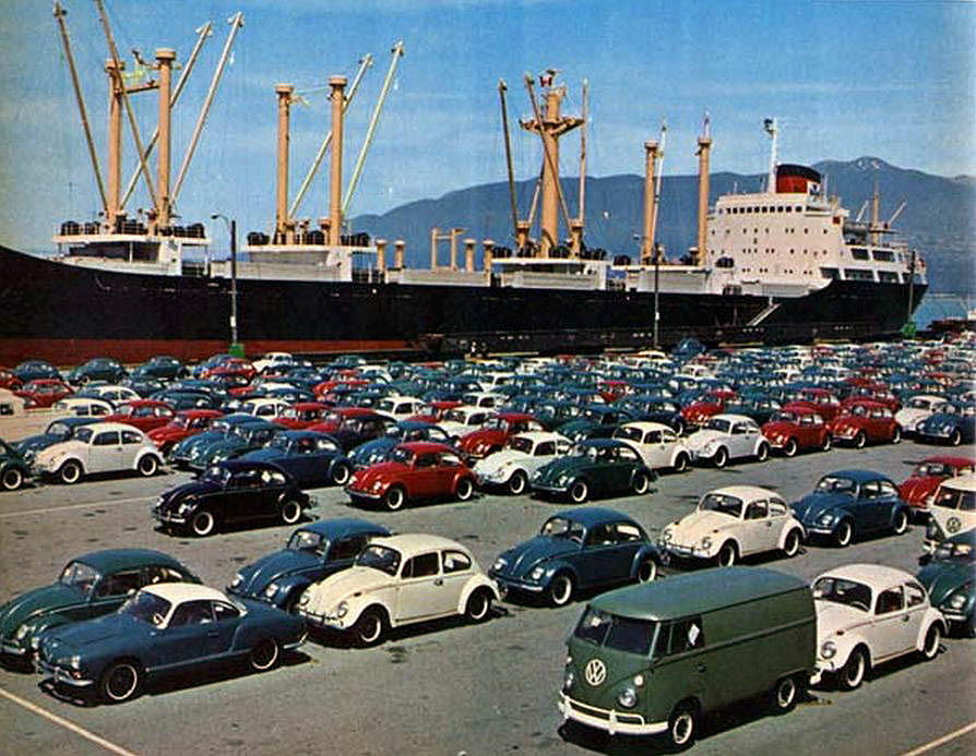 "Punch buggies, 1960s Unloading VWs at the National Harbours Board wharf on Burrard Inlet in the 1960s. Source: Photo by Clyde Herrington, via MichaelKluckner.com UPDATE: I forgot to say ""No punchbacks!"""