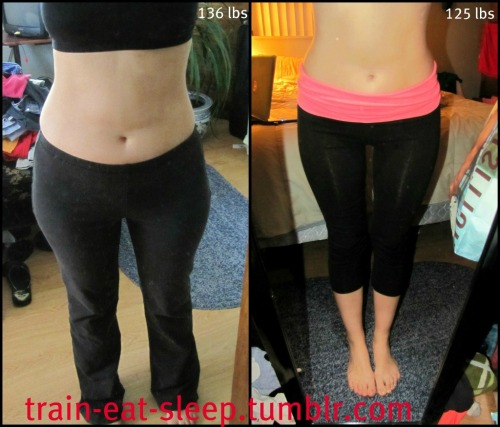 train-eat-sleep:  My updated body progress shots :) Amazing what an 11 pound difference makes. Did not realize there was so much of a change in my hips and thighs until i saw these side by side. Now i need some muscle!!! This makes me excited!!!