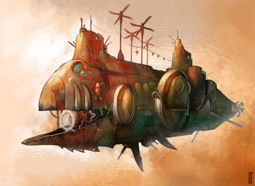 iechofour:  Steampunk airship by ~Catell-Ruz