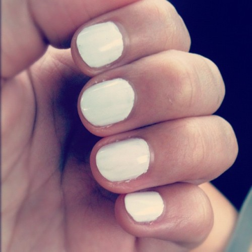 White nails (3.14.12) #nails #nailpolish #nailartaddicts  (Taken with instagram)