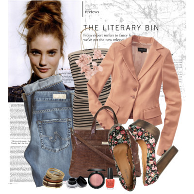 Untitled #641 by deborah-v-e featuring boyfriend jeansSupertrash striped shirt€40 - welikefashion.comPatrizia Pepe blazer€399 - conleys.deAG Adriano Goldschmied boyfriend jeans$215 - calypsostbarth.comWet Seal platform shoes$35 - wetseal.comZippered tote bag$318 - lodis.comLanvin flower necklace£414 - farfetch.comMiss Selfridge gold bangle$16 - missselfridge.comM·A·C, Naturally Mineralize Skinfinish$28 - nordstrom.comLong-Wear Gel Eyeliner - Eye pencils & liners - Make up - Beauty -debenhams.comOPI Nail Varnish - Are We There Yet? 15ml Health & Beauty | HQHair.comhqhair.com