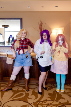AJ - madreangel Rarity - jade-xe Fluttershy - drkawaii Doing these cosplays was a lot of fun, and it was really lovely to see all the positive feedback online! <3  I'm planning on doing another Rarity at my next convention. (Her gala dress.~) Also I recently made a post related to MLP, cosplay, and body issues, that I really think you guys should read!