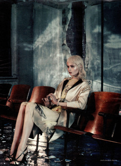candentia:  Abbey Lee Kershaw in 'As She Waits' Photographer: Mikael Jansson Coat,skirt and shoes: Prada S/S 2012 Interview Magazine March 2012