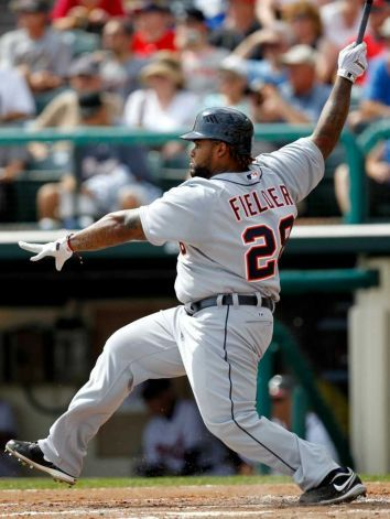 Prince Fielder collected two hits in his Detroit Tigers debut against the Atlanta Braves. At least one involved flailing. (Julio Cortez/AP, 3/3/12 courtesy of timesunion.com)