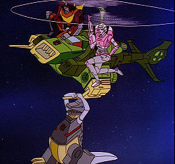 "I was watching Season 3 Transformers with my friend today and we both  noticed this scene and started cracking up at just how Arcee is posed when she's supposedly in a fighting stance and shooting Sharkticons.  Female ""action"" poses don't even spare female-coded robots apparently."