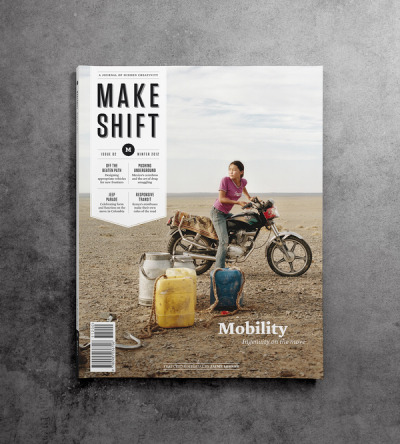 Makeshift magazine Issue 2: Mobility, featuring a motolady on the front cover.   Makeshift is a quarterly magazine about creativity in unlikely places, from the favelas of Rio to the alleys of Delhi. These are environments where resources may be scarce, but where ingenuity is used incessantly for survival, enterprise, and a self-expression. Makeshift is about people, the things they make, and the context they make them in.
