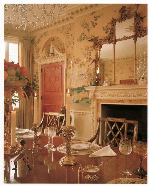 houseparts:  The dining room of Anne Cox Chambers,  Atlanta GA,  as conceived by the architect Phillip Trammell Schutze in 1929. This room, completely intact in its original form, represents a world-class example of the power of brilliant, classic design to retain its freshness and allure literally for decades.