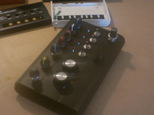 The korg monotron Here it is so far, i decided to use an on aluminium HDD enclosure. Looks pretty slick so far. It features a 4 step sequencer that sends gate and pitch CV to the monotron circuit. Thinking of adding some patch jacks in the unoccupied space at the bottom.