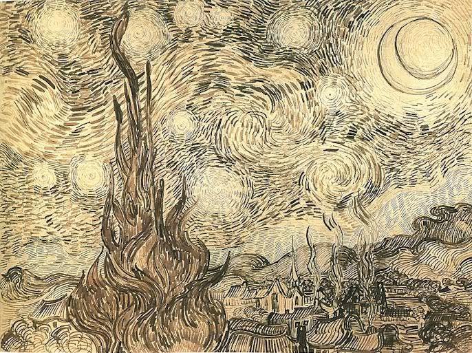 Vincent Van Gogh,Starry Night Drawing.