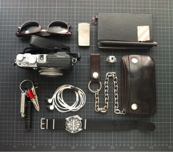 a man's life featuring Ray Ban Clubmaster #menswear everydaycarry:  submitted by derwal  Damn, looking at all that EDC pics, I bet Sherlock Holmes could read it all. Seems like some guys are pretty knive-obsessed, I really wonder why no one seriously carries a straight razor… This is the EDC of a german Industrial Designer/Photographer/Musician: Ray Ban Clubmaster - classic eyebrow glasses Zippo lighter - great beer bottle opener for a Gentleman Moleskine Sketchbook - quite essential for a creative dude, I use it heavily during my daily commute for doodling all types of thoughts Lamy 408 pen - contains 3 colors; I love sketching w/ a ball pen, because you can start doodling very light and get bolder lines by pushing the pen harder ring - boy I left that one at someone's house recently and was dogged by bad luck 'til I got the ring back… Carhartt wallet - threw away the original chain and replaced it w/ this anchor chain I bought at some biker store 15 years ago Seiko SKX007K - apologies for the NATO strap. Change it to a shark mesh bracelet from time to time tough. Never been happier w/ a watch. AKG In-ears - 'cause that Apple headset is pure crap… Leatherman Micra - not enough knife for a proper picnic, but just perfect for my EDC; love the scissors LiteXpress Mini Palm 101 light - 21 Lumen of awesomeness, uses standard batteries bike and house keys - all w/ light 'n Leatherman it's barely suitable to carry in your pant pocket without looking like a pusher… Fuji X100 camera - I taped the cam black, so it looks crappy and less like a show off  Editor's Note: Derwal, knives are incredibly useful tools for many contributors here (although for others, their admiration and passion for knife collecting might outweigh the actual practical need for a knife, but no problem with that). I know you're joking, but carrying a straight razor is illegal pretty much everywhere and one wouldn't be practical for EDC use (lack of a hard lock, weird grip ergonomics for cutting like a knife, blunted tip, etc). I don't mean to knock SRs though, I will admit I'm personally a fan of gourmet wet shaving! It's just not suitable for EDC. Anyway, onto your carry — the loadout is very coherent and appropriate for your line of work, so good job for putting all that thought into it. I like the notebook and the multipen, especially for creative work. Nice keychain setup too, but if you find yourself struggling to tame your pocket bulge, consider a P7 suspension clip. It lets you hang your keychain, suspended in your pocket, so it doesn't bunch up at the bottom of your pocket and carries a little slimmer and more comfortably. Lastly, nice touches on the X100 with the gaffer tape and the black strap on the watch. Makes for a more subdued look! Thanks for sharing.
