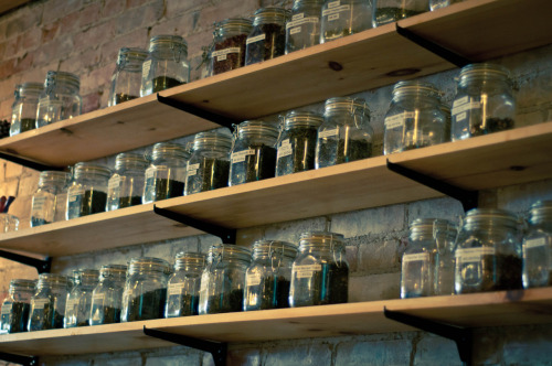 This looks really cool and all, but storing your tea in clear jars (air tight or not) is a bad idea if you want it to stay fresh. Light bleaches the nutrients and taste right out of your tea.  Err on the safe side and always store your tea in an air-tight AND light-tight container! Teavana sells them in 8oz and full pound (16oz) sizes for $6 or $7 respectively.
