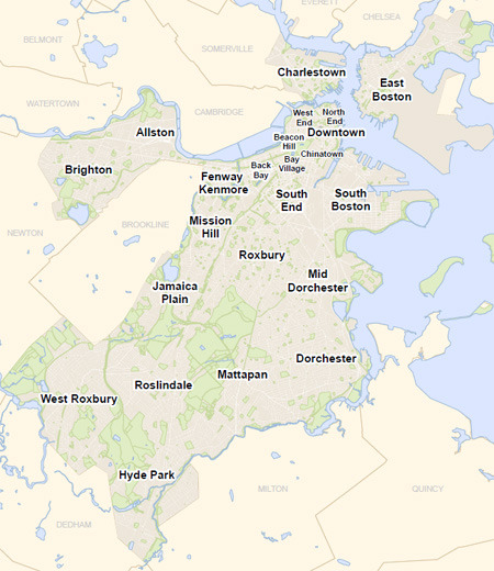 Here's a map of Boston's neighborhoods for better understanding of what areas we're talking about when you read our 'Meet the neighborhoods' blogs!