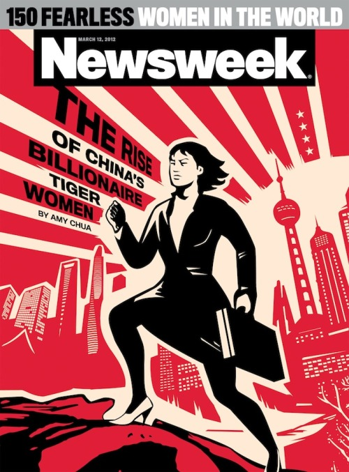 newsweek:  This week's cover story on China's billionaire Tiger Women is, of course, by the OG Tiger Mom herself: Amy Chua. Check out this cover!