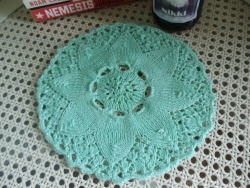 Close-up of handknit doily (pattern found via Ravelry).