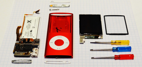 thingsorganizedneatly:  SUBMISSION: My iPod nano, a post-mortem dissection ofter it died this morning. It had a good life.