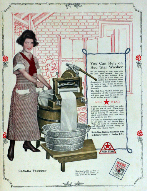 "questionableadvice:  ~ Red Star washer, March 1921via Grace's Guide(click to enlarge)""You can rely on this machine. … It has no Bolshevik notions, makes no exorbitant demands.""  ""So Red Star Washer - Are you now or have you ever been a member of the Communist Party?"""